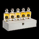 Singold Whisky Tasting Set mit den fünf kleinen Whiskyflaschen darauf