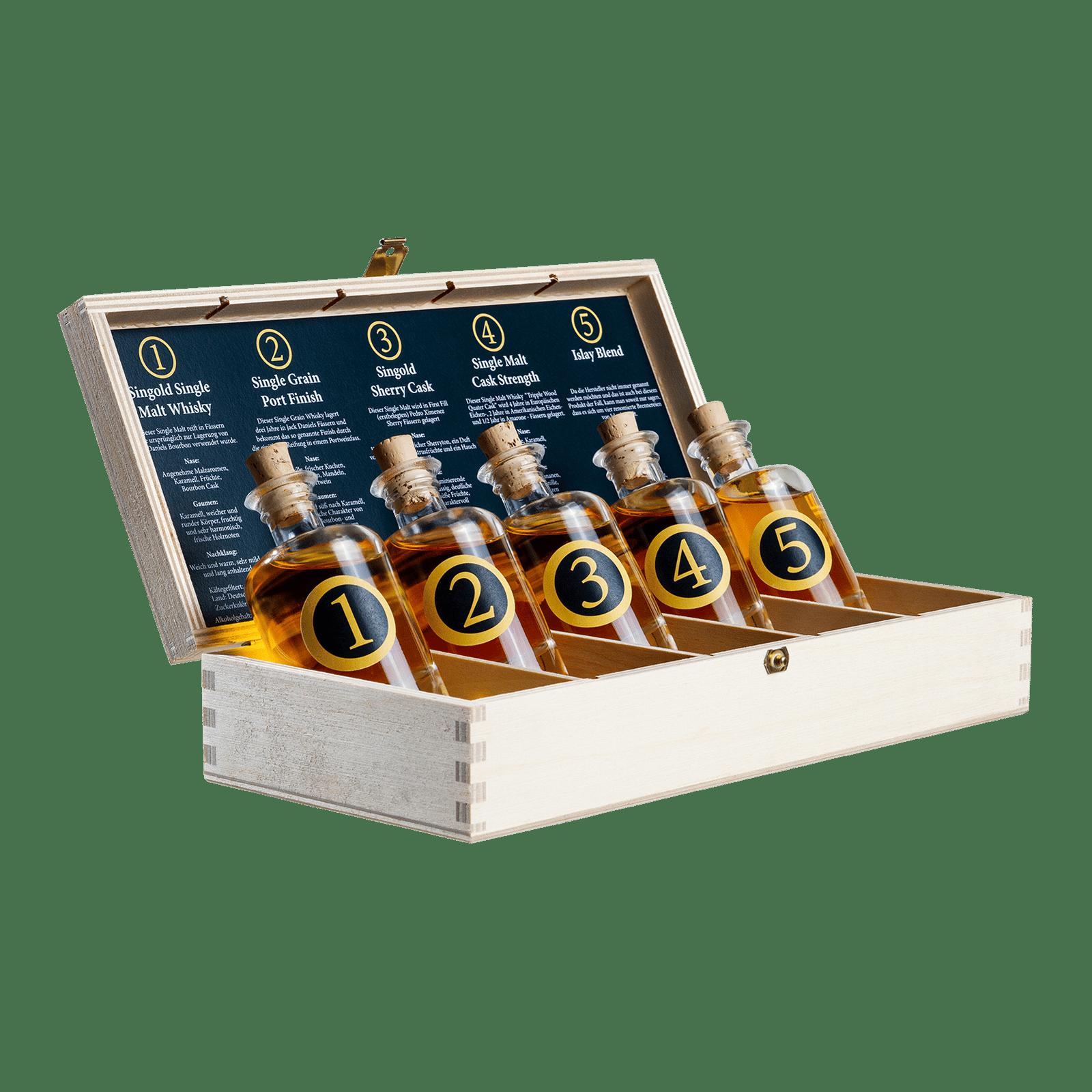In seiner Holzverpackung eignet sich das Singold Whisky Tasting Set hervorragend als Geschenk